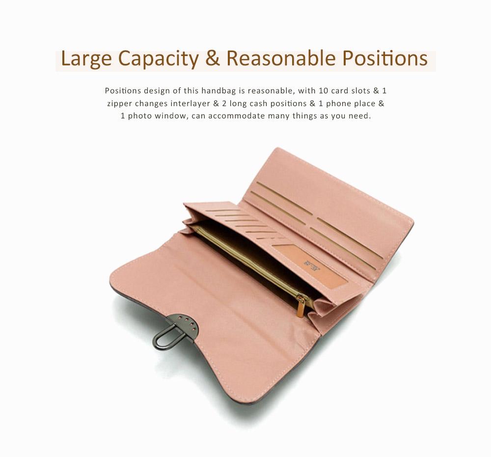 Long Clutch Women Creases Purse, Matte PU Leather Buckle Card Holder Elegant Flip-type Clutch Bag 2