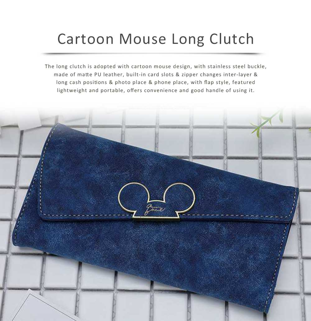 Long Clutch with Cartoon Mouse, Women Handbag Matte PU Leather Buckle Card Holder Portable Purse Flap Bag 0
