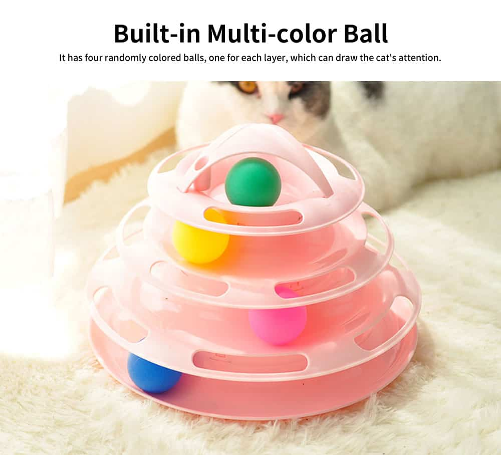 Built-in Multi-color Ball Cat Toy, Environment-friendly PP Material Pet Toy, with Non-slip Pads At the Bottom 3