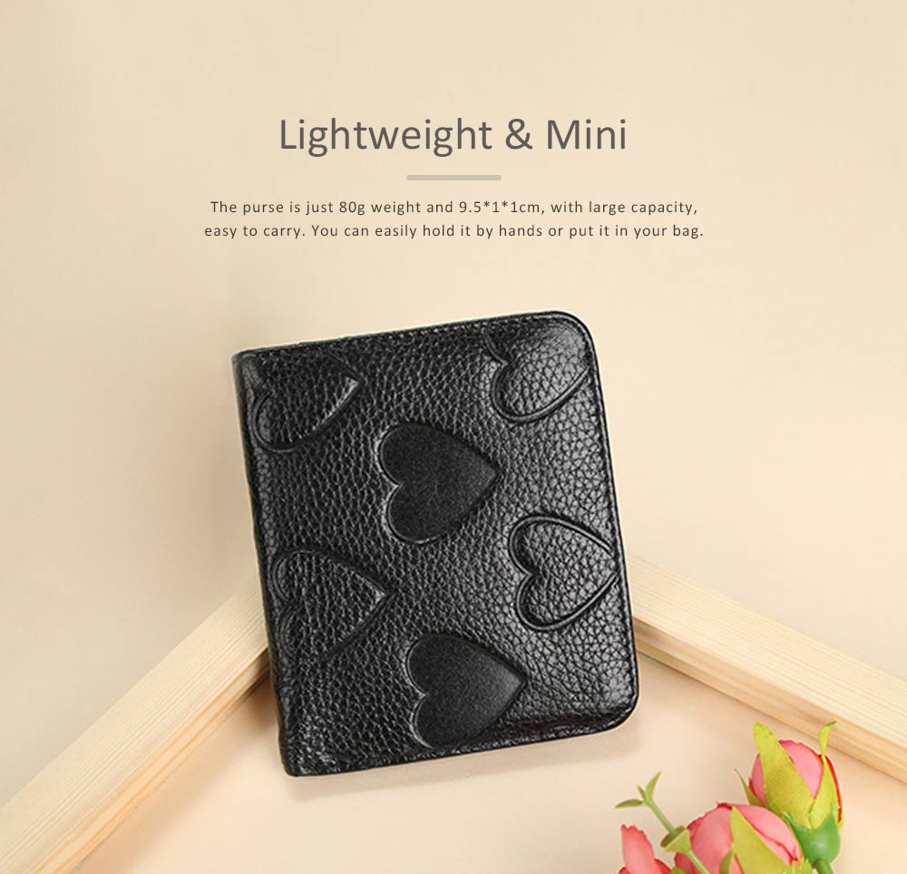 Soft Genuine Leather Purse with Peach Heart Embossed, Oxhide Buckle Short Purse Women Clutch with Card Holder 5