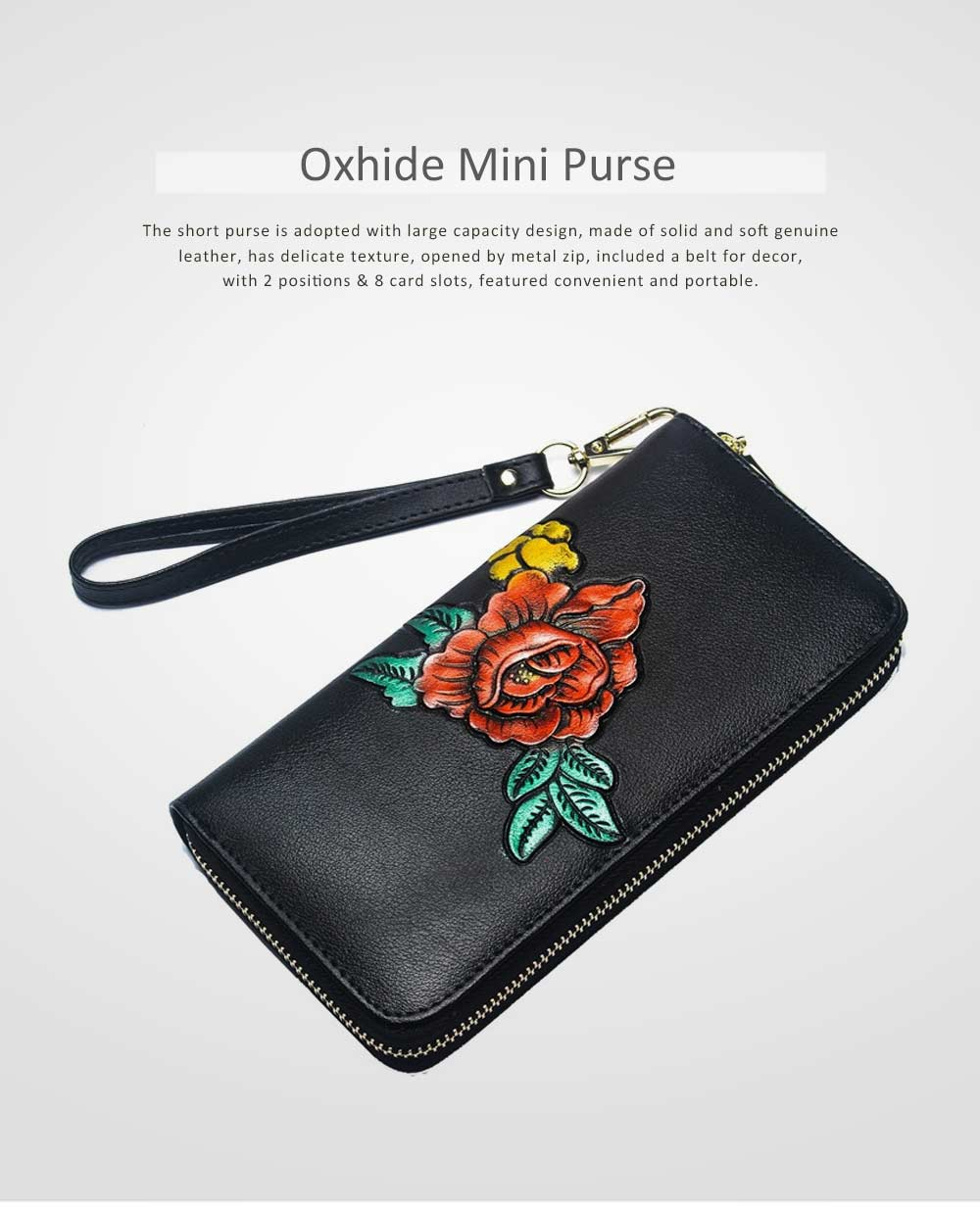 Soft Genuine Leather Purse with Multiple Card Slots, Mini Clutch Zipper Purse Oxhide Buckle Short Clutch Card Holder for Women 0