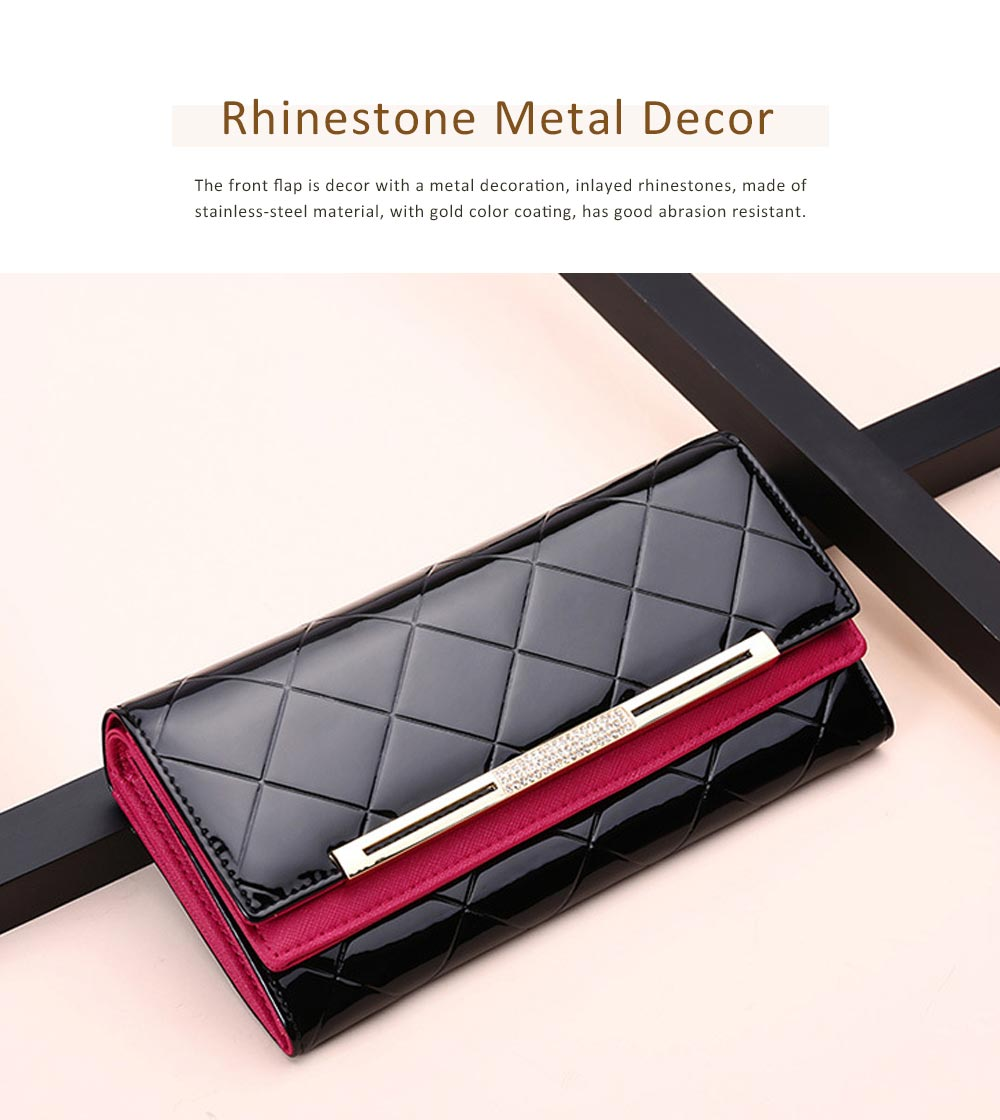 Bright Plaids Embossed Lady Purse Patent Genuine Leather Flip-type Long Purse Card Holder Long Clutch Bag 1