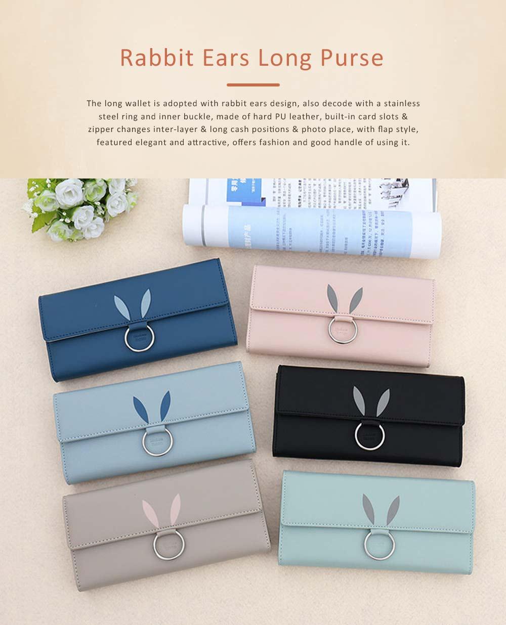 Rabbit Ears Ring Long Purse for Women, Hard PU Leather Macaron Color Buckle Card Holder Long Clutch Elegant Flap Purse 0