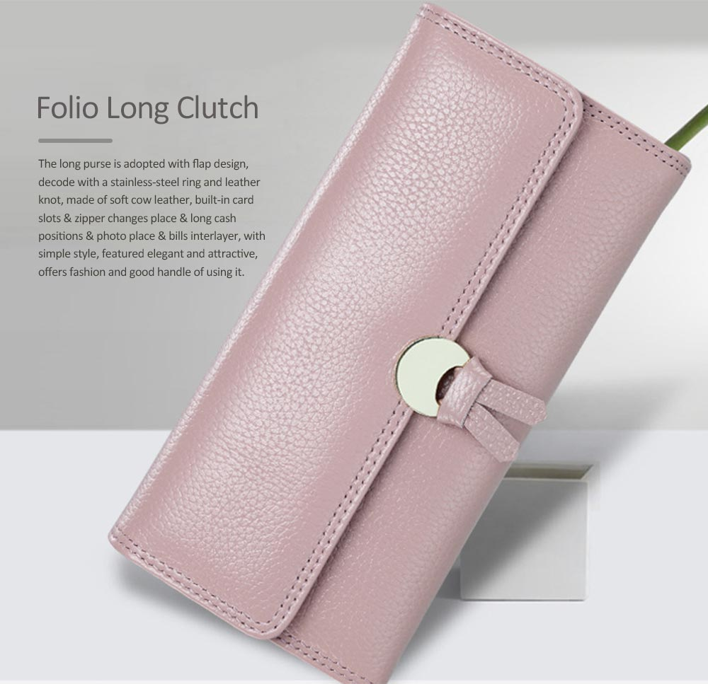 Genuine Leather Folio Card Holder Purse with Solid Oxhide Buckle, Portable Long Clutch Bag 0
