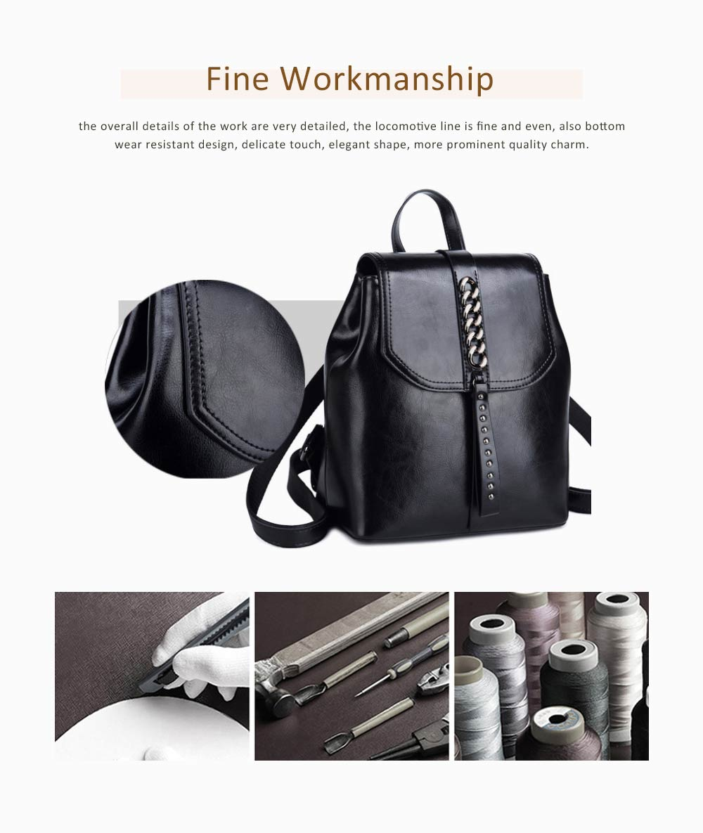 Fashion Retro Backpack Casual Genuine Leather Rucksack Shoulder Bag Women Fashion Accessories Elegant Large Capacity Rivets Travel Bag 4