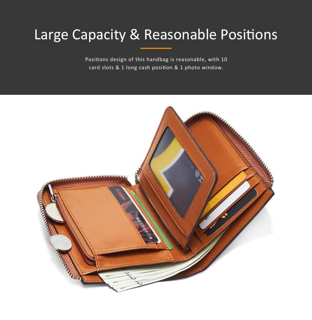Genuine Leather Business Purse Short Clutch Bag Oxhide Zipper Mini purse Unisex Handbag Card Holder 1
