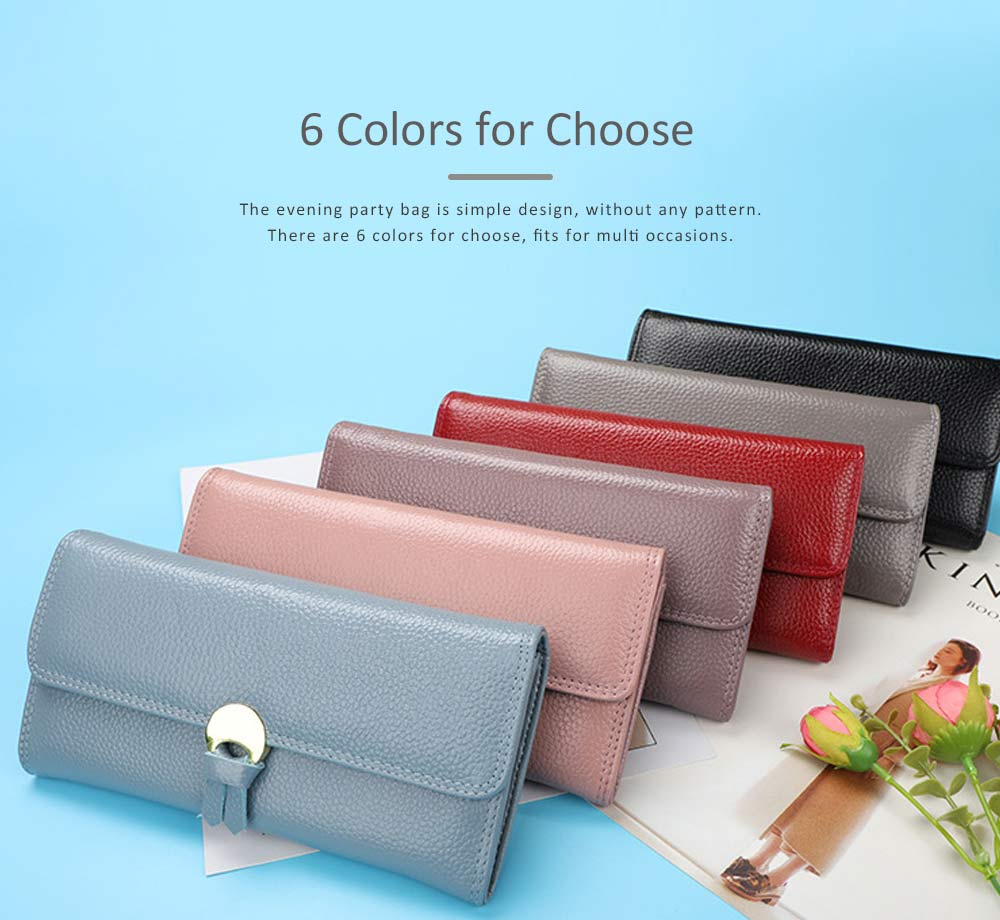 Genuine Leather Folio Card Holder Purse with Solid Oxhide Buckle, Portable Long Clutch Bag 6