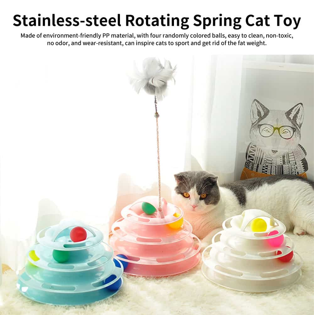 Built-in Multi-color Ball Cat Toy, Environment-friendly PP Material Pet Toy, with Non-slip Pads At the Bottom 0