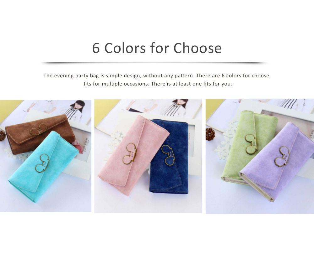 Long Clutch with Cartoon Mouse, Women Handbag Matte PU Leather Buckle Card Holder Portable Purse Flap Bag 5