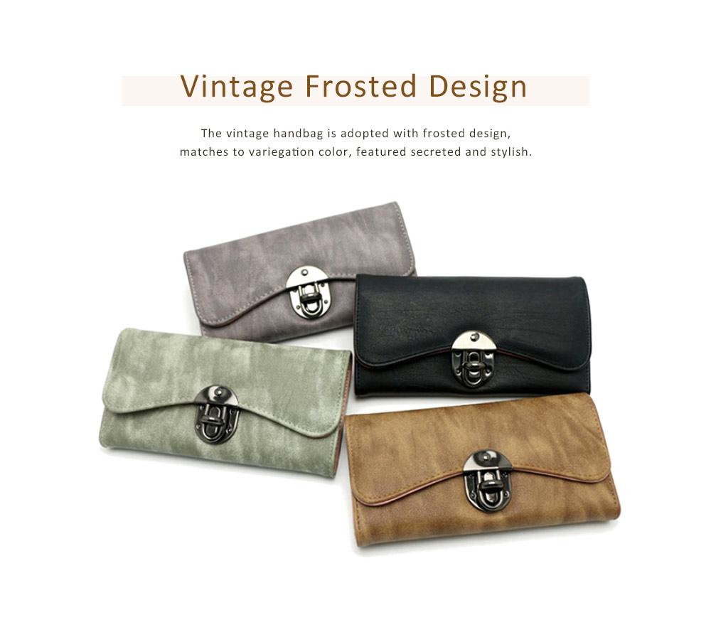 Long Clutch Women Creases Purse, Matte PU Leather Buckle Card Holder Elegant Flip-type Clutch Bag 5