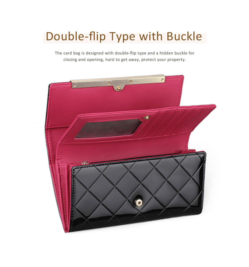 Bright Plaids Embossed Lady Purse Patent Genuine Leather Flip-type Long Purse Card Holder Long Clutch Bag 4