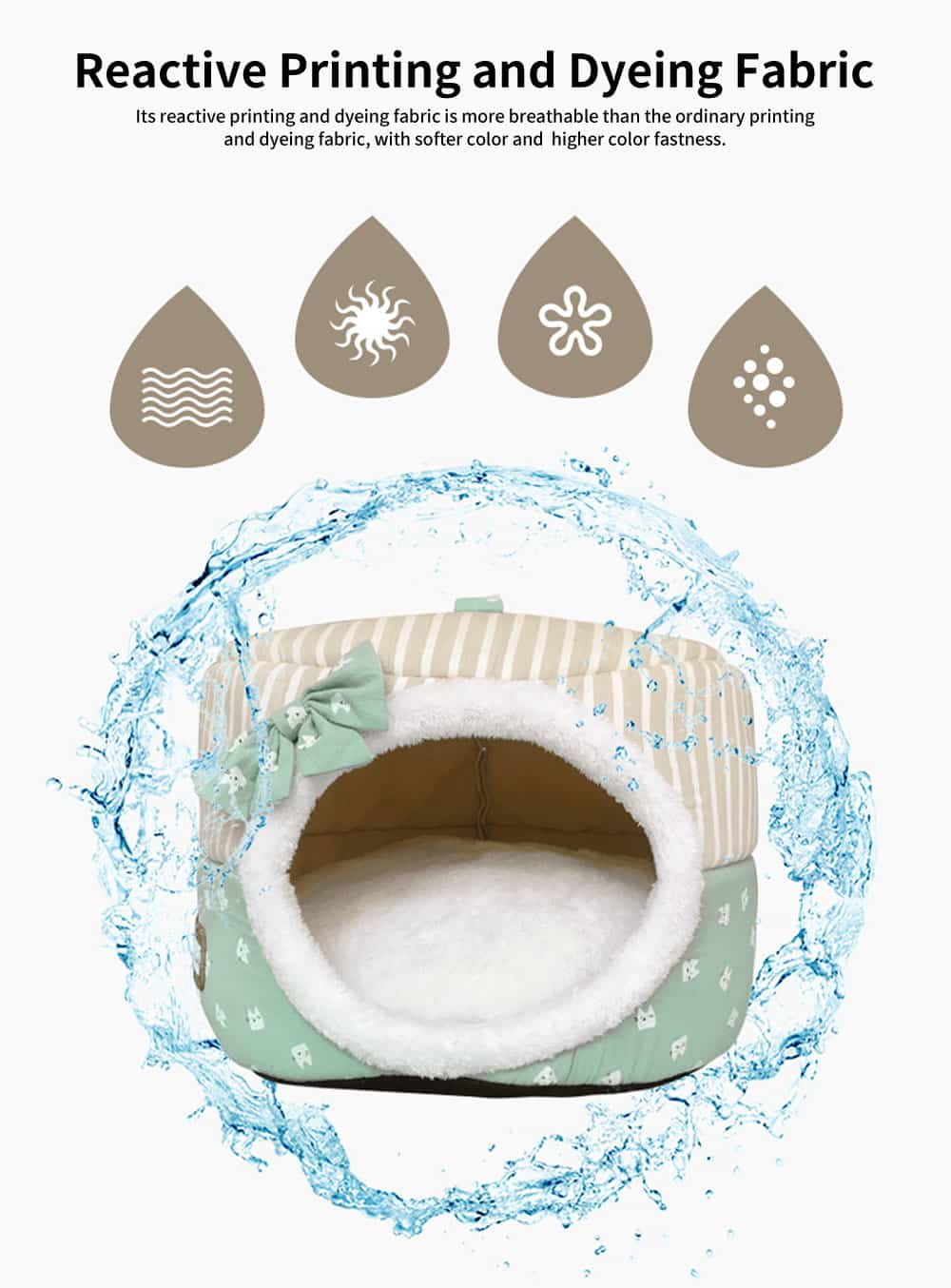 Round Shell Nest Pet Bed with Double-sided Cushion, Reactive Printing and Dyeing Fabric Cat Litter 1