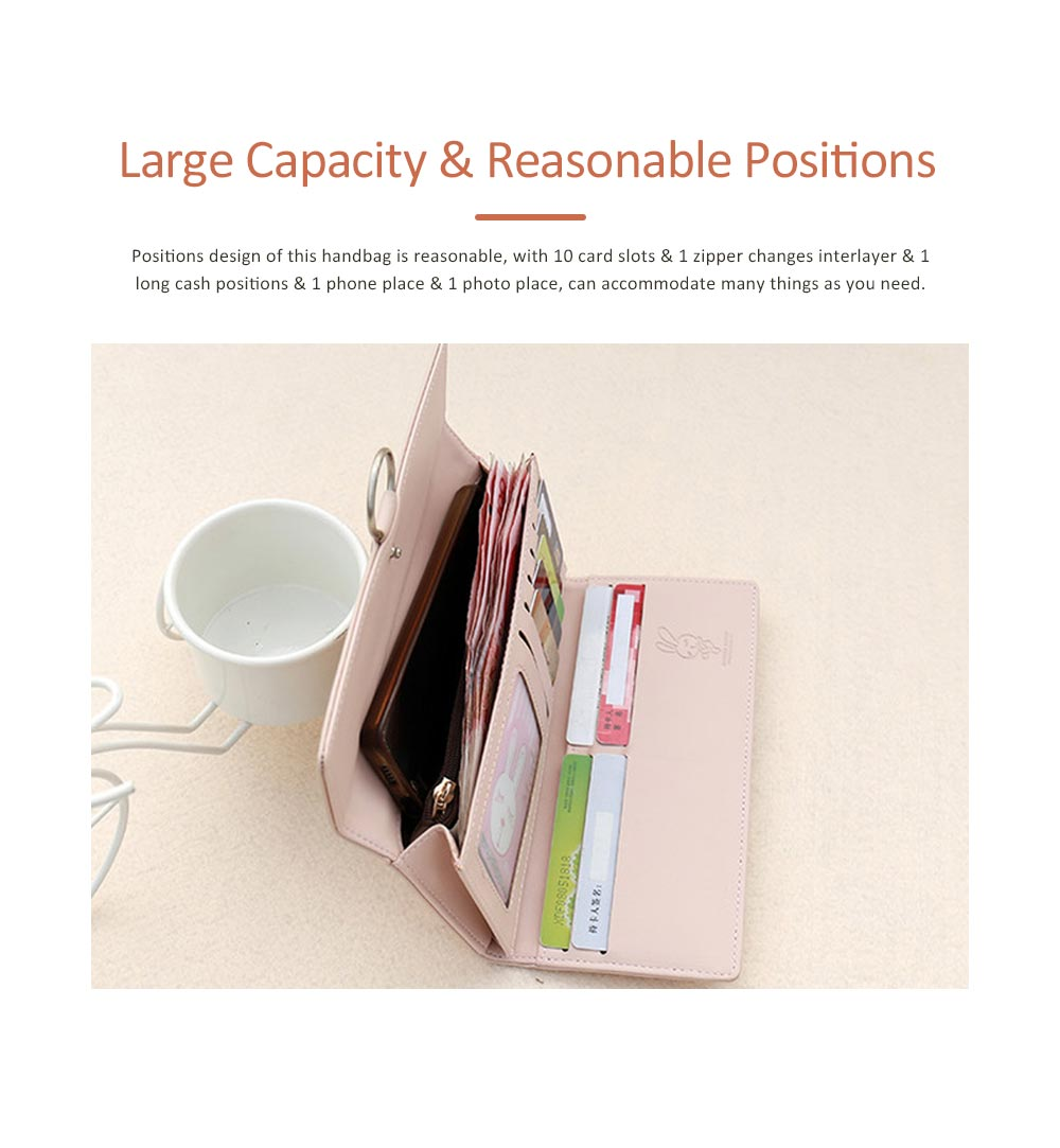Rabbit Ears Ring Long Purse for Women, Hard PU Leather Macaron Color Buckle Card Holder Long Clutch Elegant Flap Purse 3