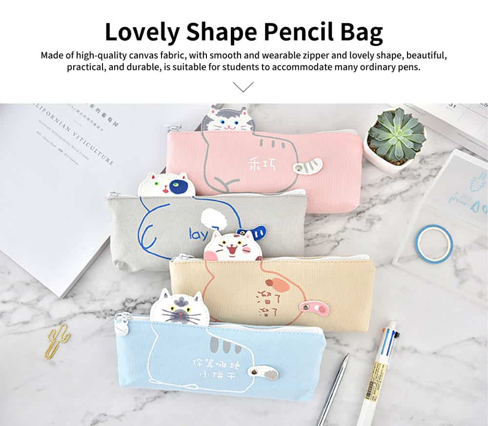 Lovely Shape Pencil Bag, High-quality Canvas Fabric Pen Case, with Smooth and Wearable Zipper 0