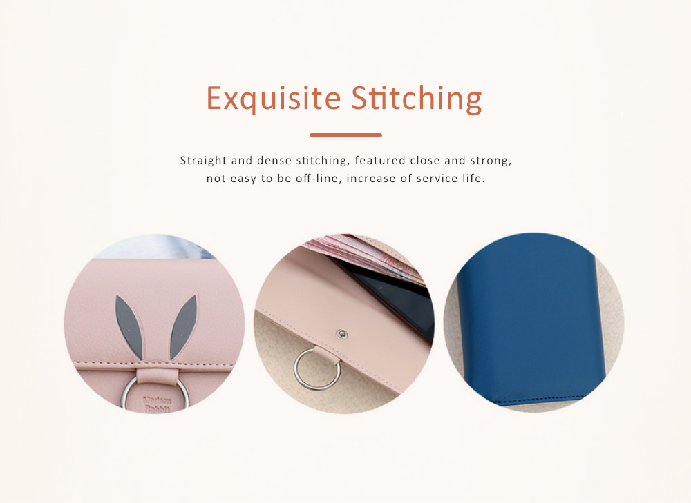 Rabbit Ears Ring Long Purse for Women, Hard PU Leather Macaron Color Buckle Card Holder Long Clutch Elegant Flap Purse 4