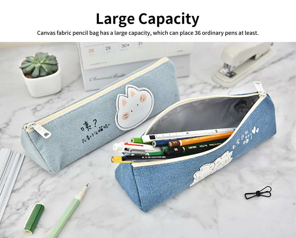 Cute Pen Case for Students, High-quality Canvas Fabric Pencil Bag, with Lining Inside the Pocket 4