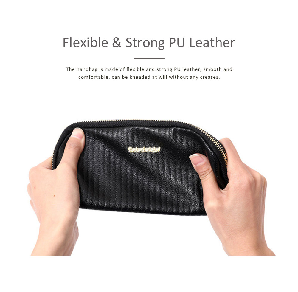 Women Clutch Solid PU Leather Strapped Long Purse Phone Holder Large Capacity Changes Purse Mini Hanging Bag 1