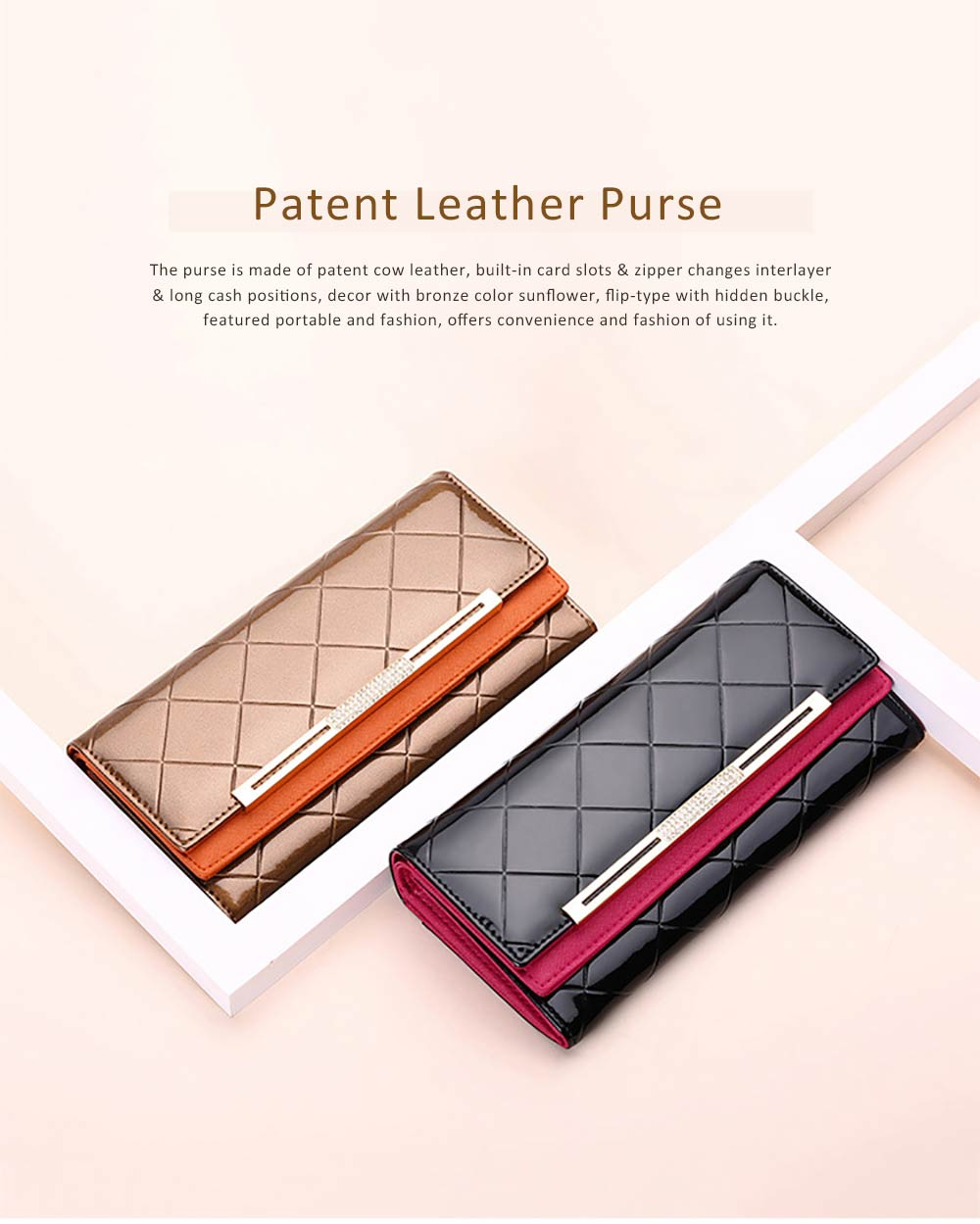 Bright Plaids Embossed Lady Purse Patent Genuine Leather Flip-type Long Purse Card Holder Long Clutch Bag 0