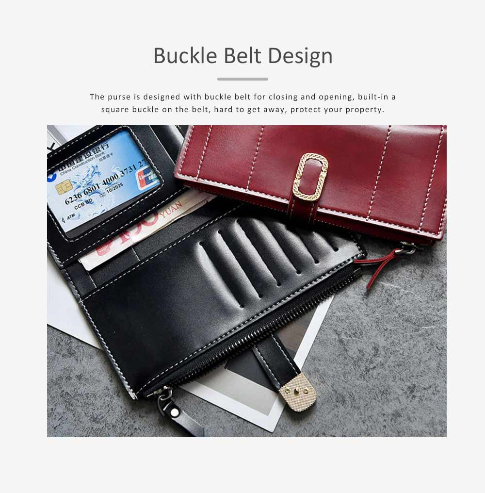 Elegant Synthetic Leather Long Clutch Bag with Buckle Belt Casual Solid Women Purse 6