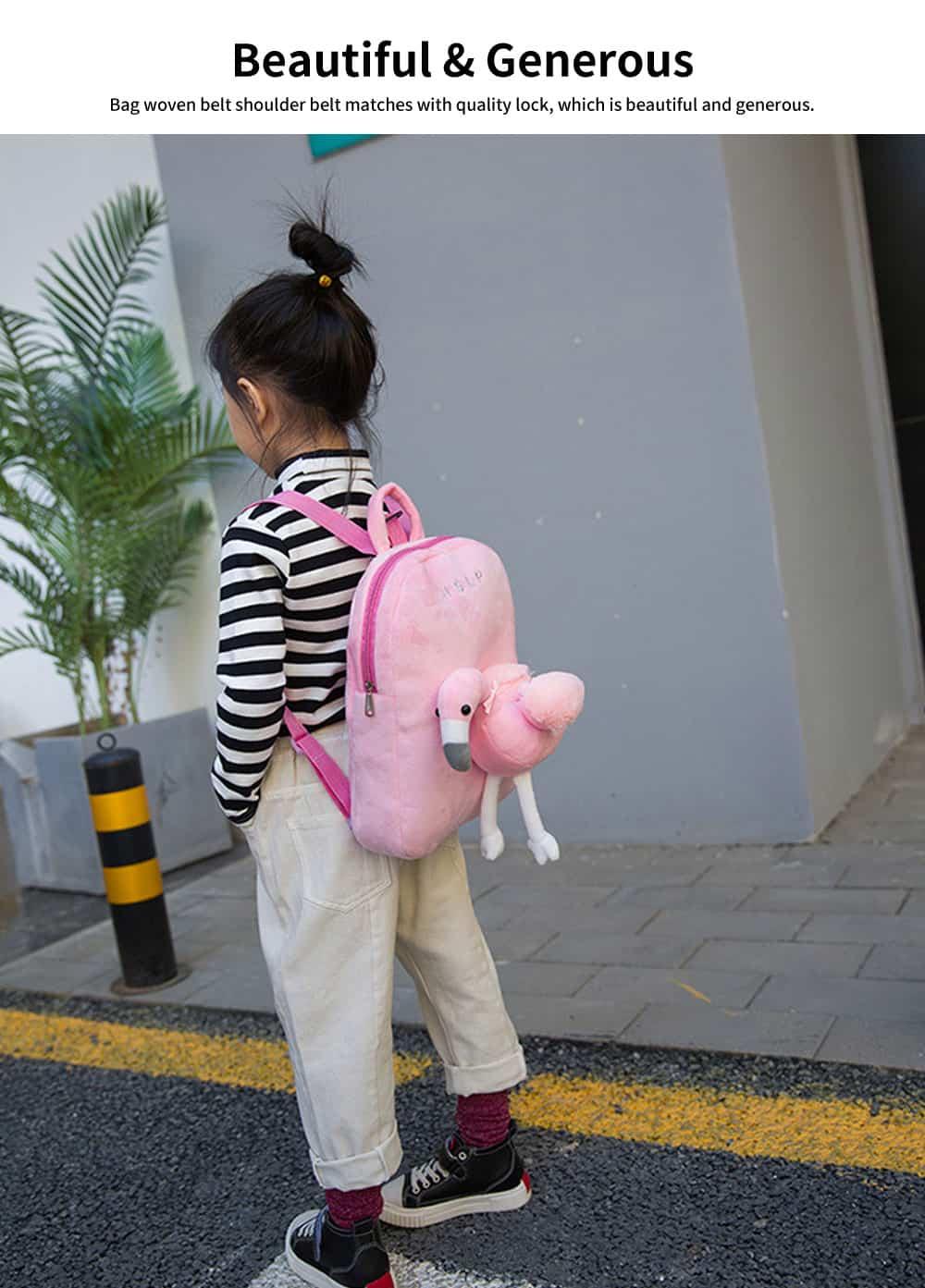 Flamingo Cute Cartoon Unicorn Children's Schoolbag, Practice Detachable Plush Kindergarten Backpack 4