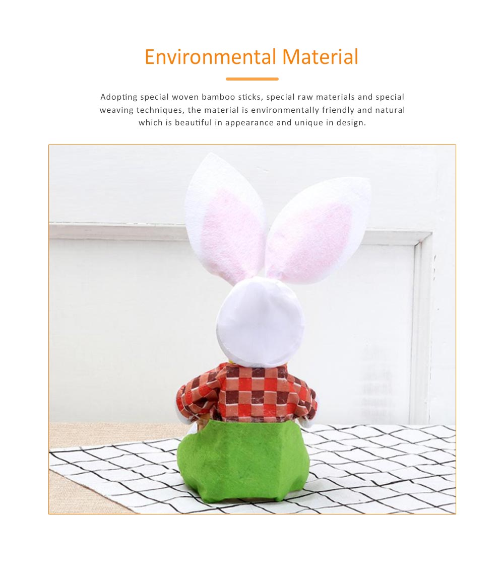 Easter Bunny DIY Handmade Basket, Bamboo Woven Rattan Weaving Basket with Cartoon Design for Storage 3