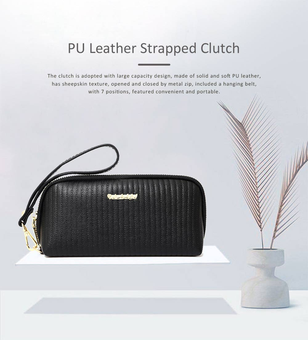 Women Clutch Solid PU Leather Strapped Long Purse Phone Holder Large Capacity Changes Purse Mini Hanging Bag 0