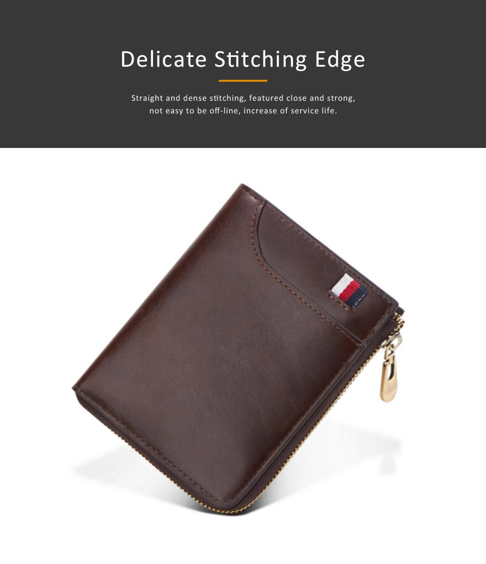 Genuine Leather Business Purse Short Clutch Bag Oxhide Zipper Mini purse Unisex Handbag Card Holder 3
