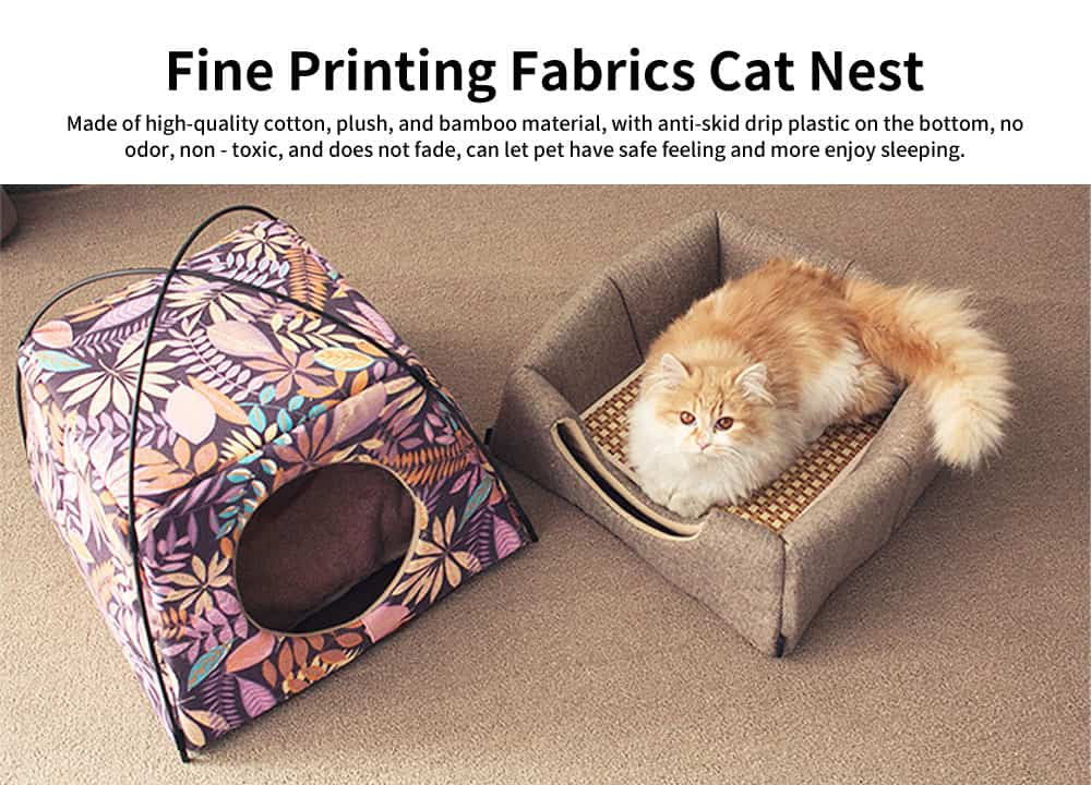 Fine Printing Fabrics Cat Nest, Practical Dual-purpose Deformation Nest, with Soft Cotton Pad 0