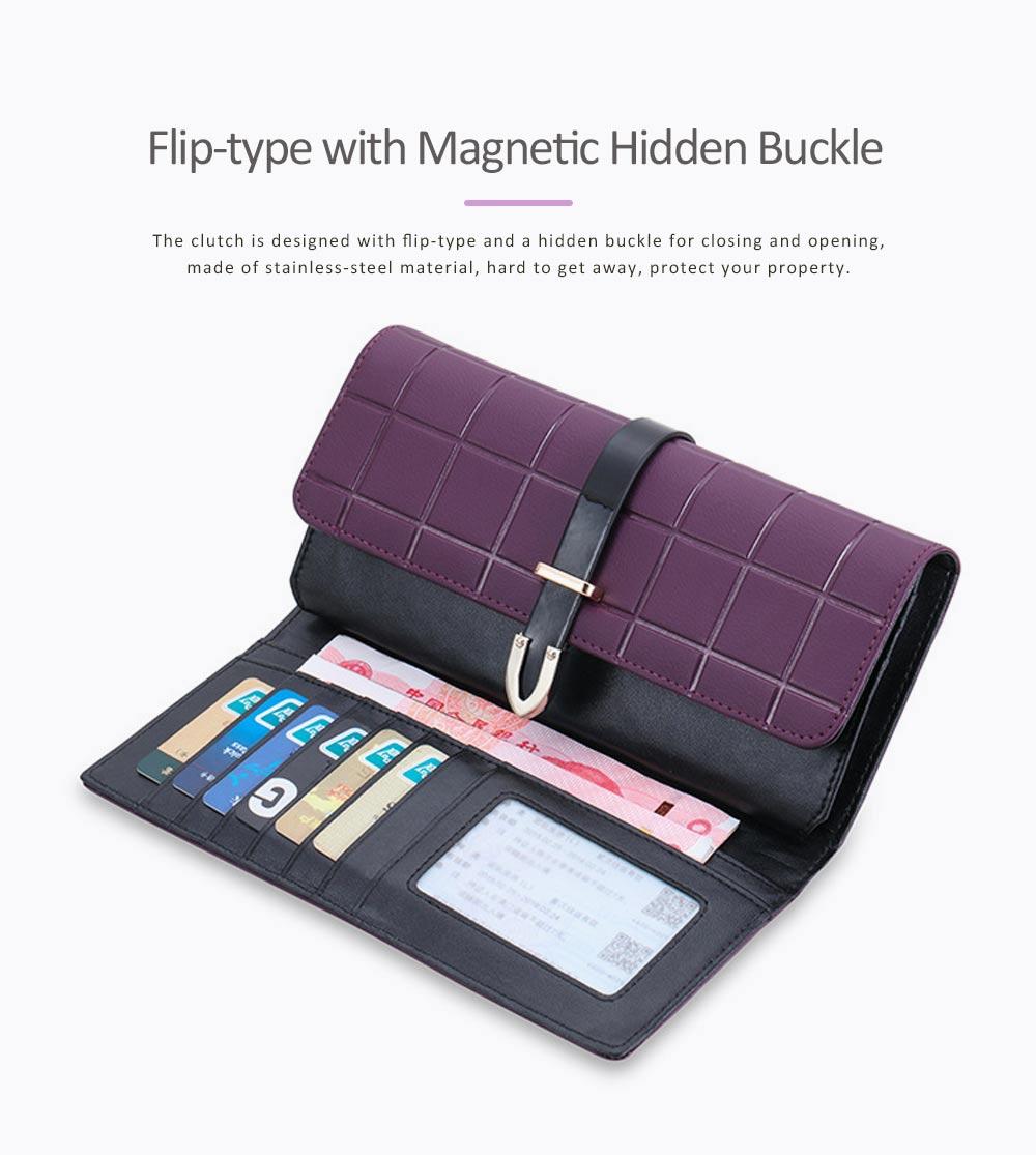 Genuine Leather Portable Purse Long Clutch Flap Bag, Oxhide 3 Folds Buckle Long Wallet Women Handbag Embossed Checks Card Holder 2