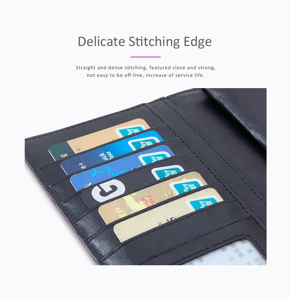 Genuine Leather Portable Purse Long Clutch Flap Bag, Oxhide 3 Folds Buckle Long Wallet Women Handbag Embossed Checks Card Holder 4