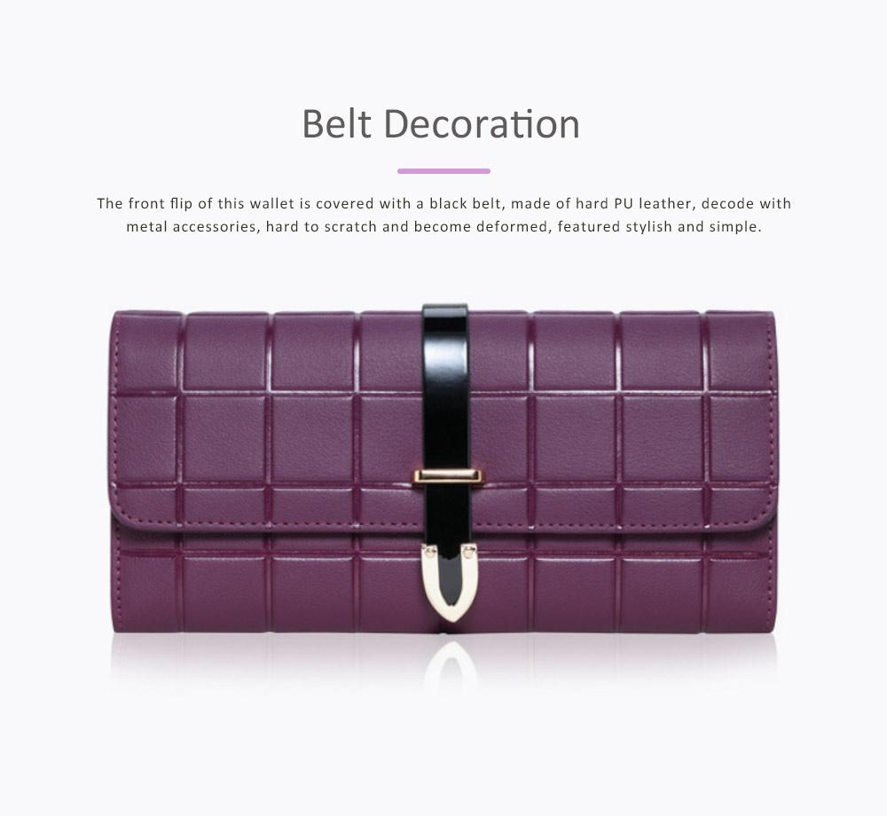 Genuine Leather Portable Purse Long Clutch Flap Bag, Oxhide 3 Folds Buckle Long Wallet Women Handbag Embossed Checks Card Holder 6