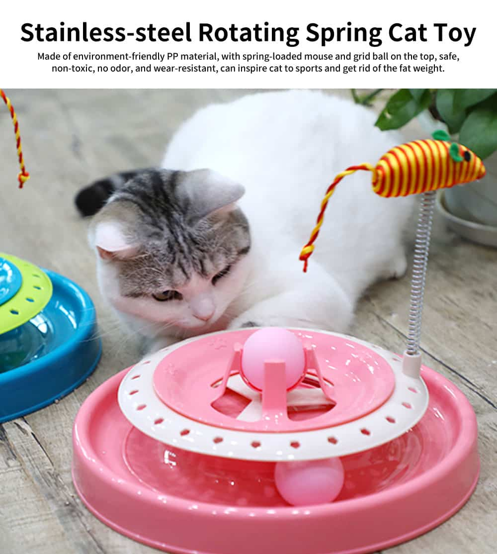 Stainless-steel Rotating Spring Cat Toy, Environment-friendly PP Material Pet Toy, with A Spring Mouse 360° Shaking 0