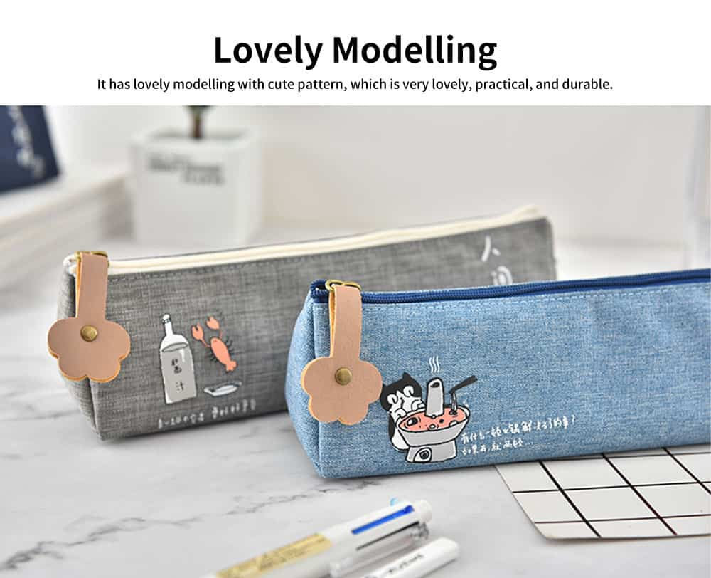 Cute Pen Case for Students, High-quality Canvas Fabric Pencil Bag, with Lining Inside the Pocket 3