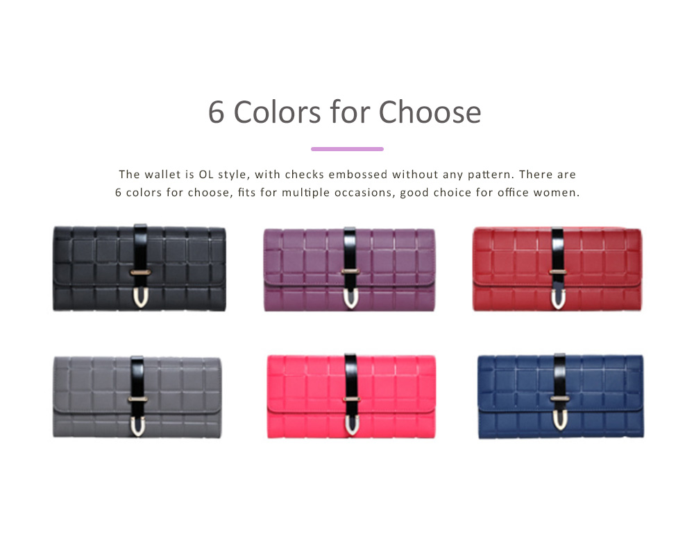 Genuine Leather Portable Purse Long Clutch Flap Bag, Oxhide 3 Folds Buckle Long Wallet Women Handbag Embossed Checks Card Holder 5