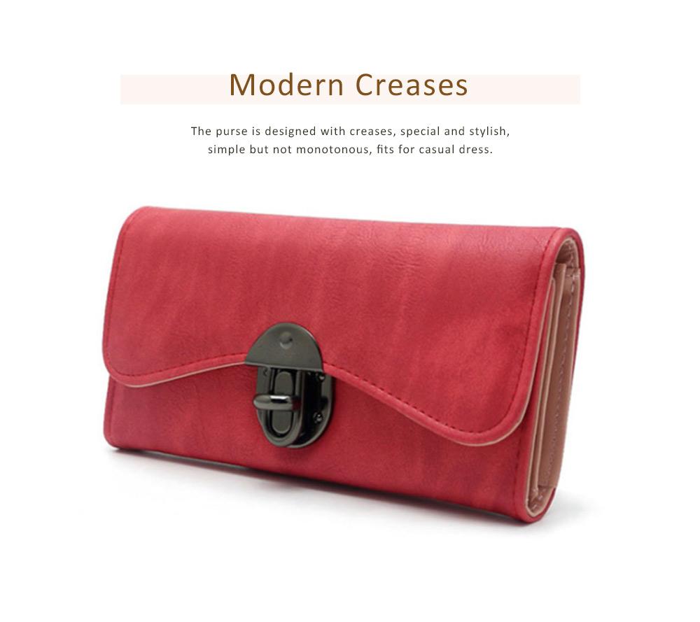 Long Clutch Women Creases Purse, Matte PU Leather Buckle Card Holder Elegant Flip-type Clutch Bag 1