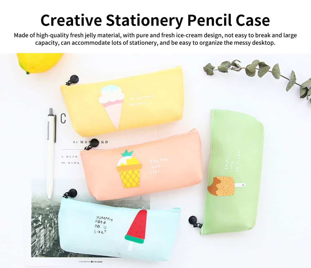 Creative Stationery Pencil Case, Jelly Gel Material Large Pencil Case, with Pure and Fresh Ice-cream Design 0