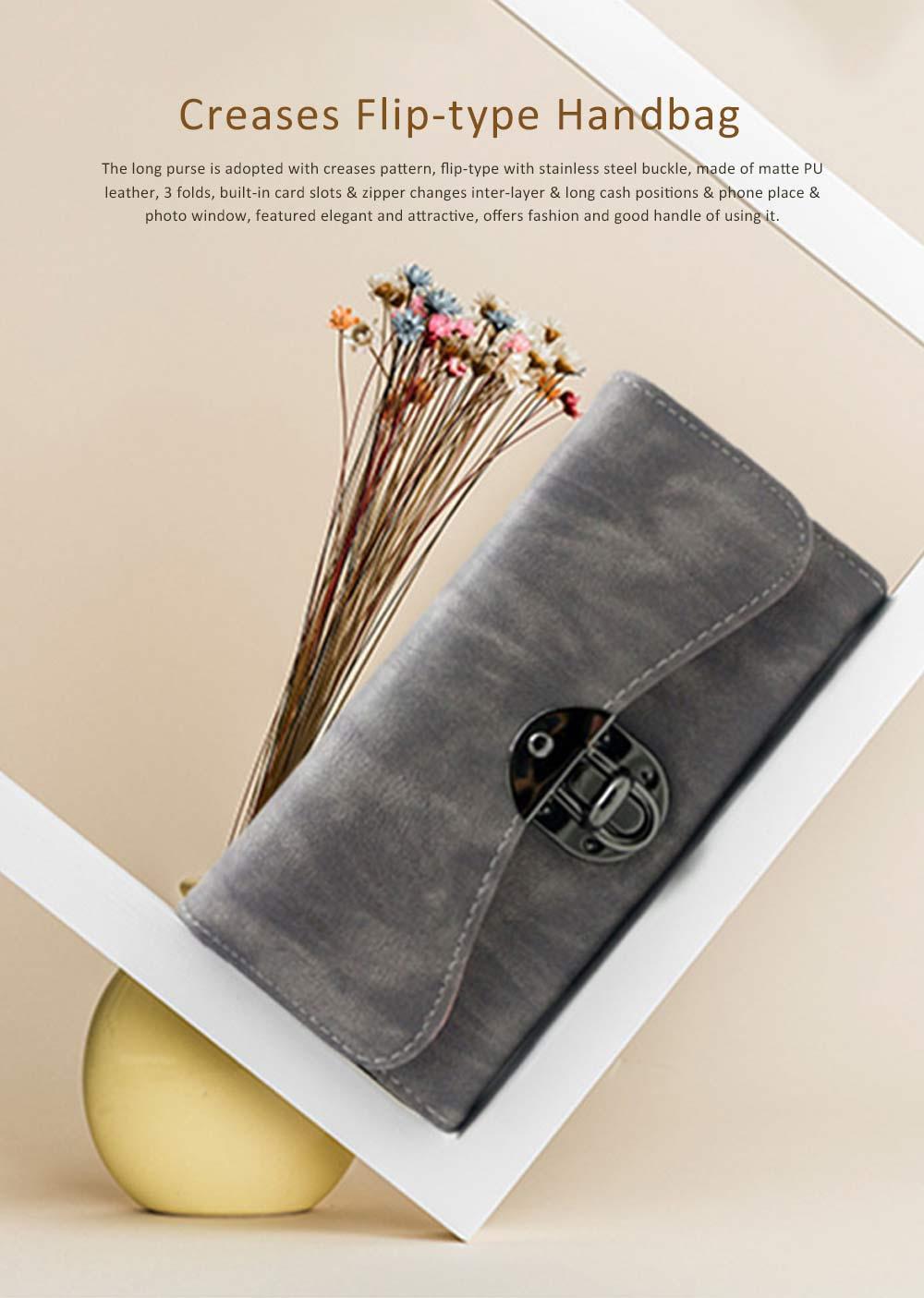 Long Clutch Women Creases Purse, Matte PU Leather Buckle Card Holder Elegant Flip-type Clutch Bag 0