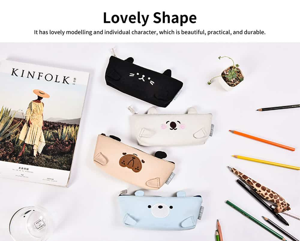 Lovely Shape Pencil Bag, High-quality Canvas Fabric Pen Case, with Smooth and Wearable Zipper 2