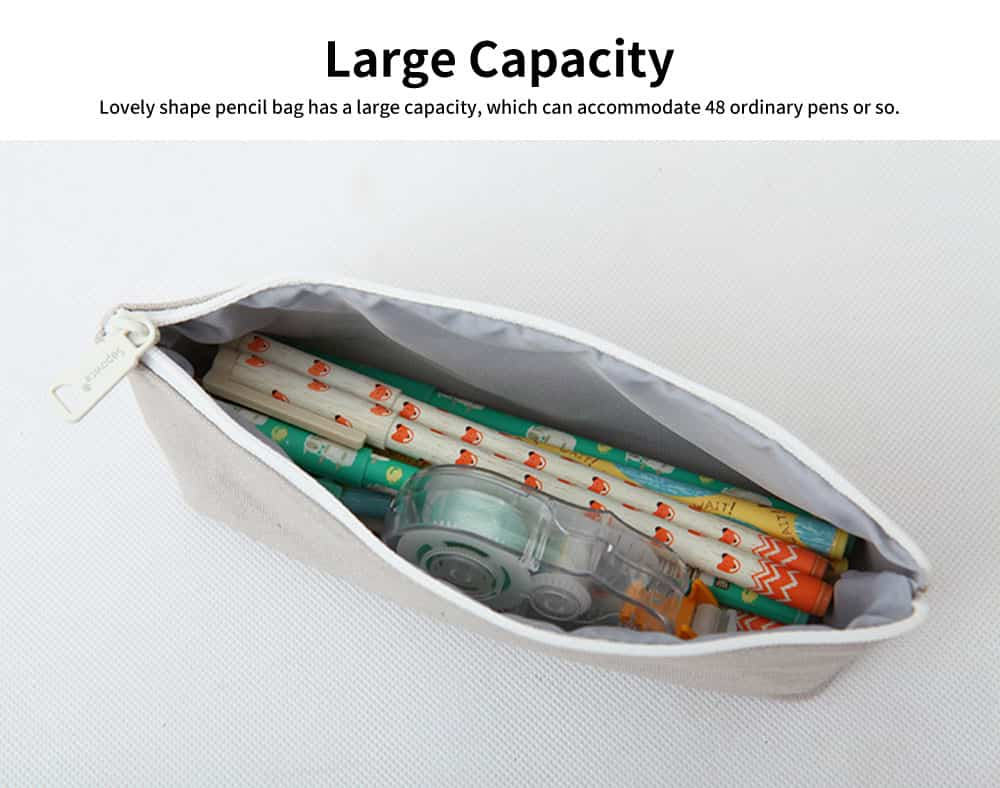 Lovely Shape Pencil Bag, High-quality Canvas Fabric Pen Case, with Smooth and Wearable Zipper 3