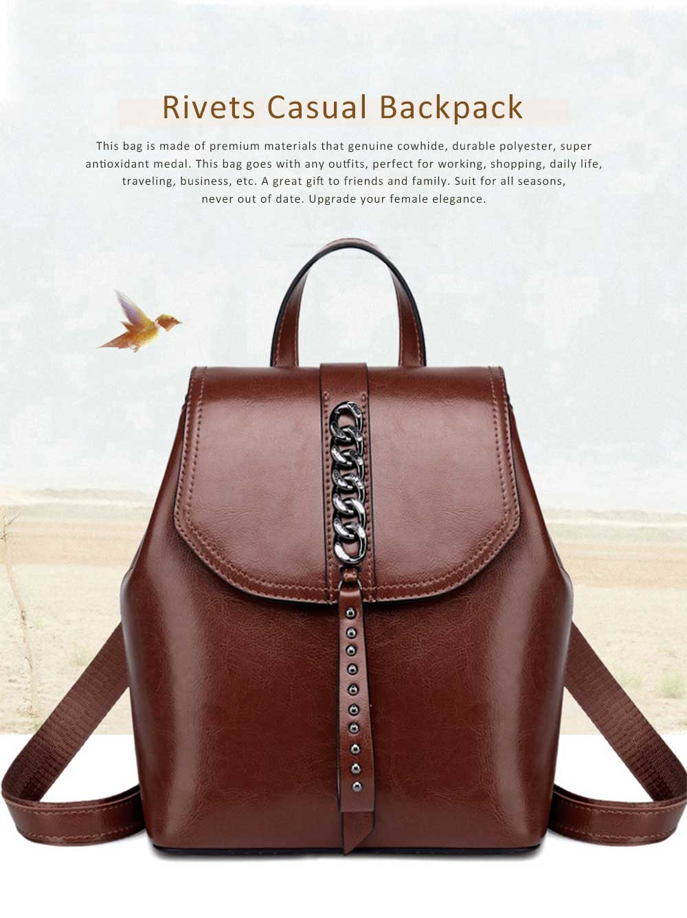Fashion Retro Backpack Casual Genuine Leather Rucksack Shoulder Bag Women Fashion Accessories Elegant Large Capacity Rivets Travel Bag 0