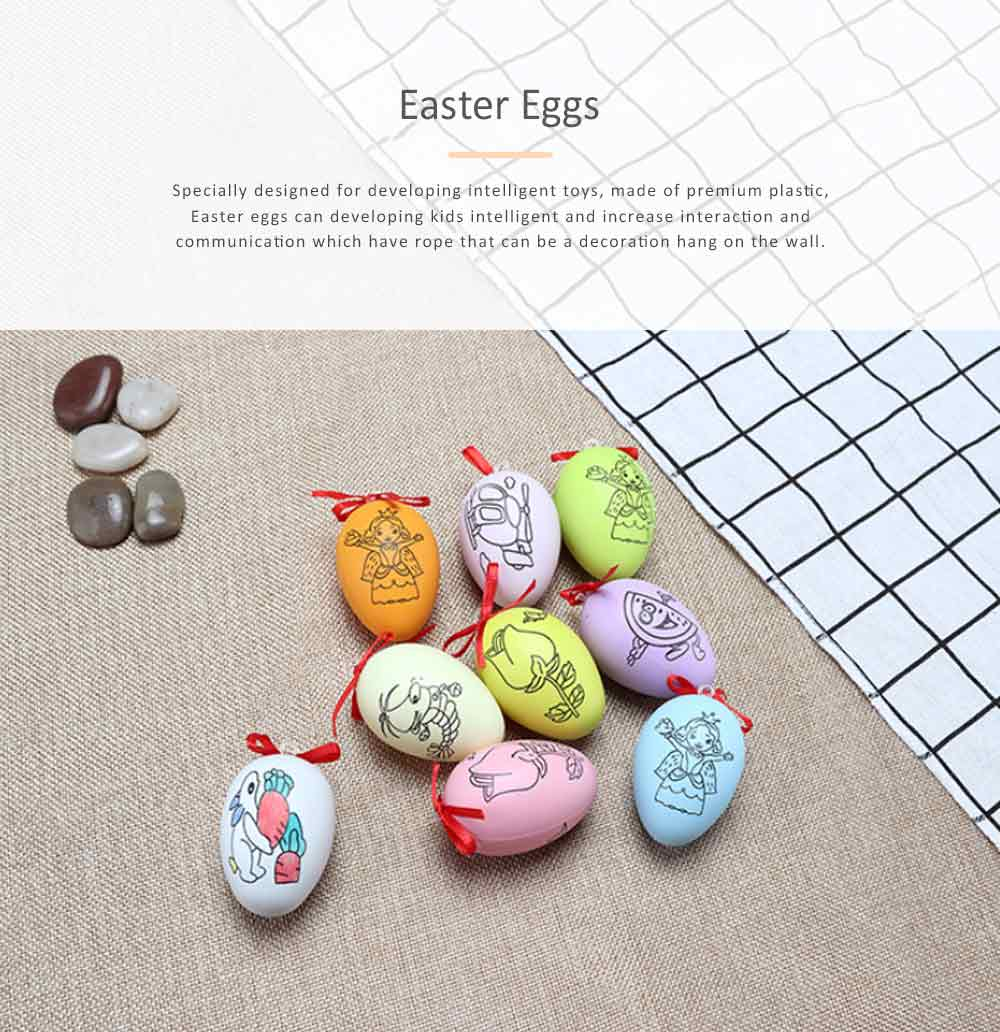 Easter Eggs Imitation Plastic Children Creative Puzzle Play Toys, DIY White Blank with Rope as a Pendant 0