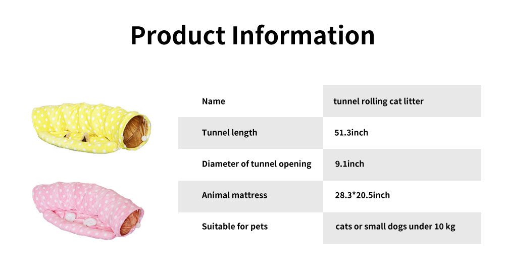 Foldable Warm Cat Drill Hole Channel Pet Nest, Sweet Color and Lovely Model Deep Pleasure Tunnel Cat Litter 6