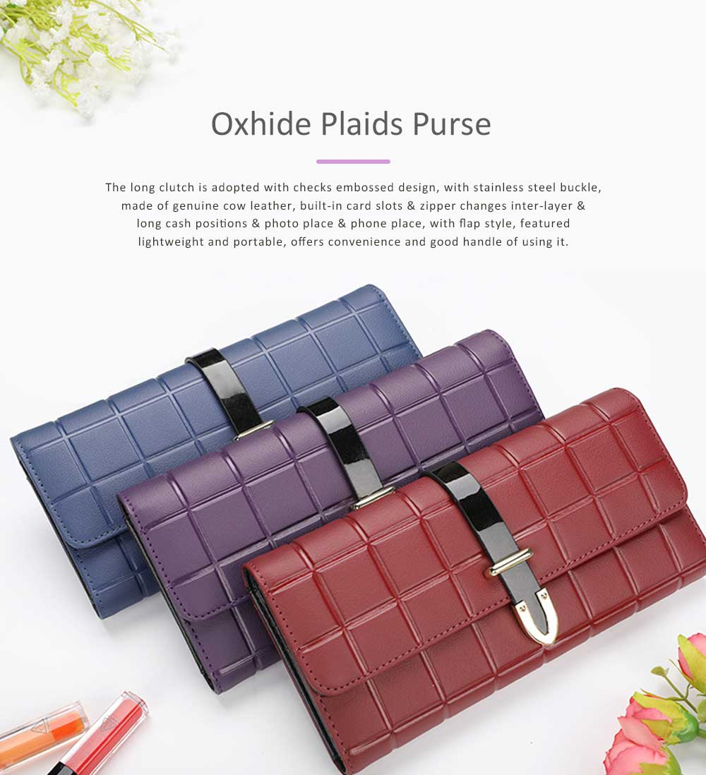 Genuine Leather Portable Purse Long Clutch Flap Bag, Oxhide 3 Folds Buckle Long Wallet Women Handbag Embossed Checks Card Holder 0
