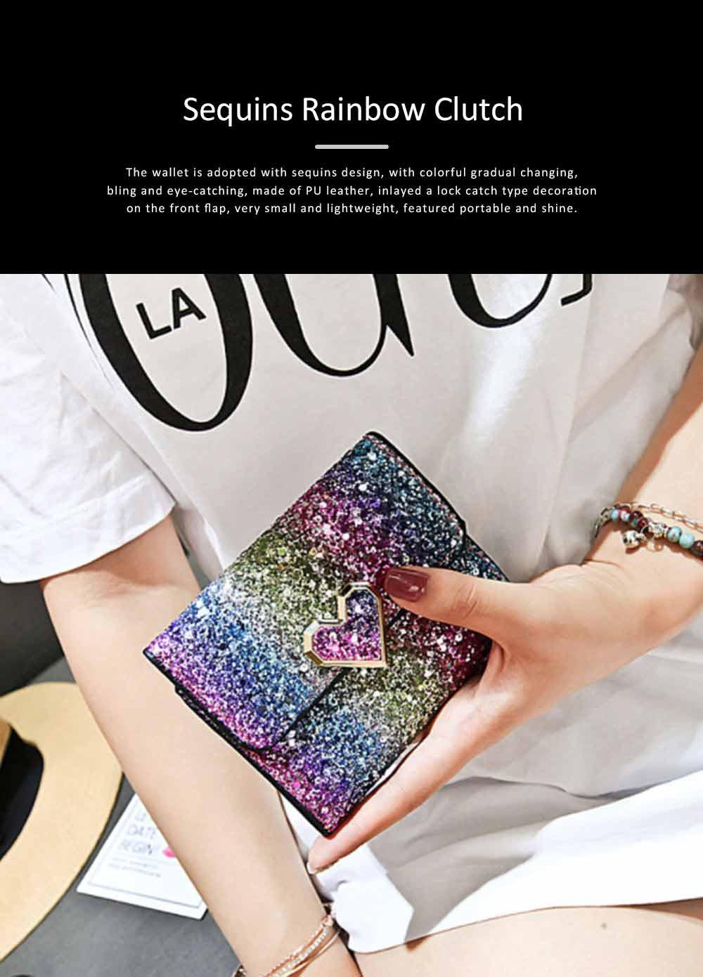 Chic Short Purse Folio Mini Handbag Sequins Colorful 3 Slots PU Leather Rainbow Clutch Bag Evening Party Accessories 0
