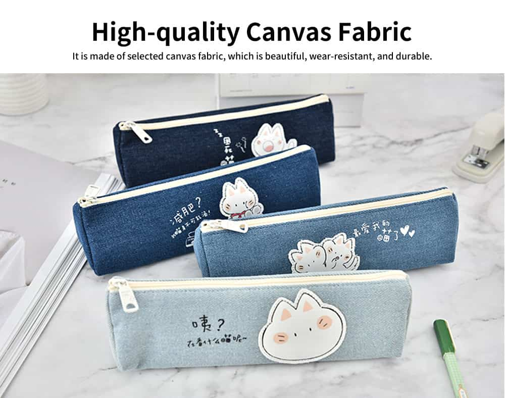 Cute Pen Case for Students, High-quality Canvas Fabric Pencil Bag, with Lining Inside the Pocket 2
