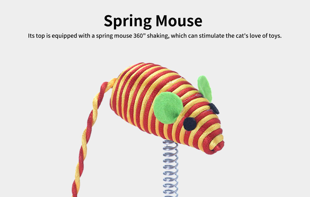 Stainless-steel Rotating Spring Cat Toy, Environment-friendly PP Material Pet Toy, with A Spring Mouse 360° Shaking 1