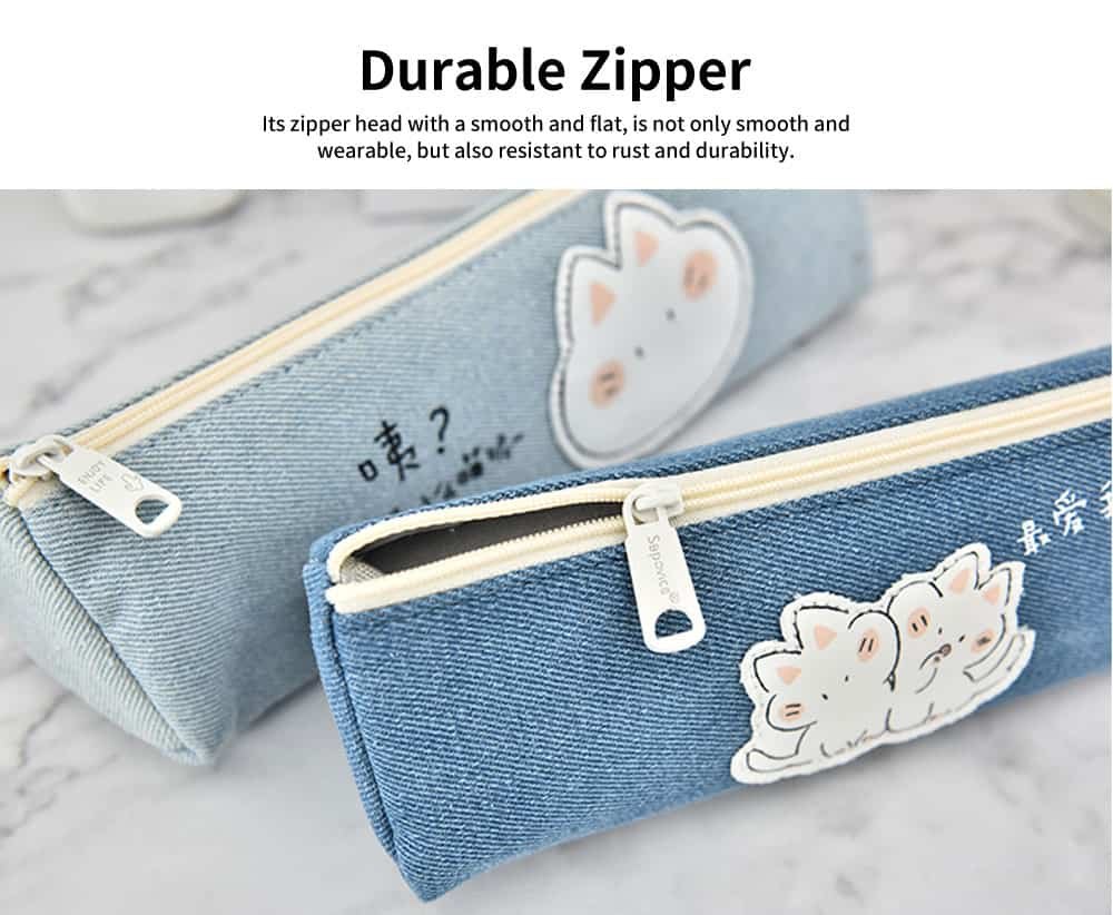 Cute Pen Case for Students, High-quality Canvas Fabric Pencil Bag, with Lining Inside the Pocket 5