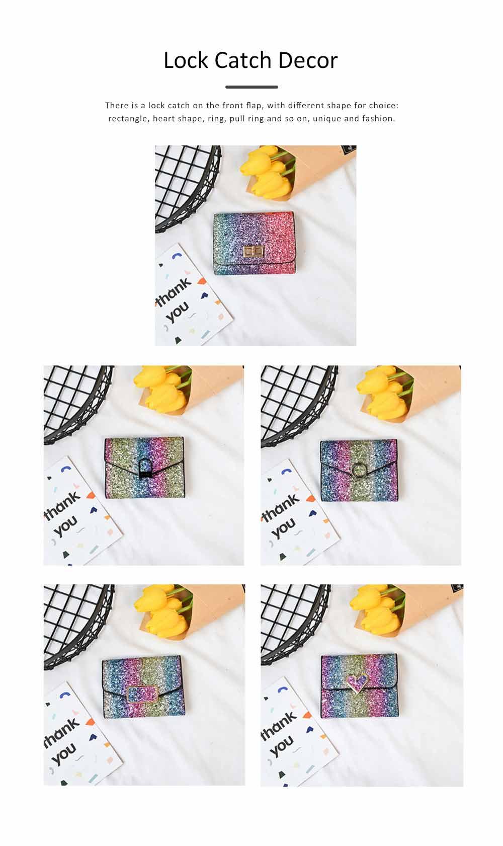 Chic Short Purse Folio Mini Handbag Sequins Colorful 3 Slots PU Leather Rainbow Clutch Bag Evening Party Accessories 3