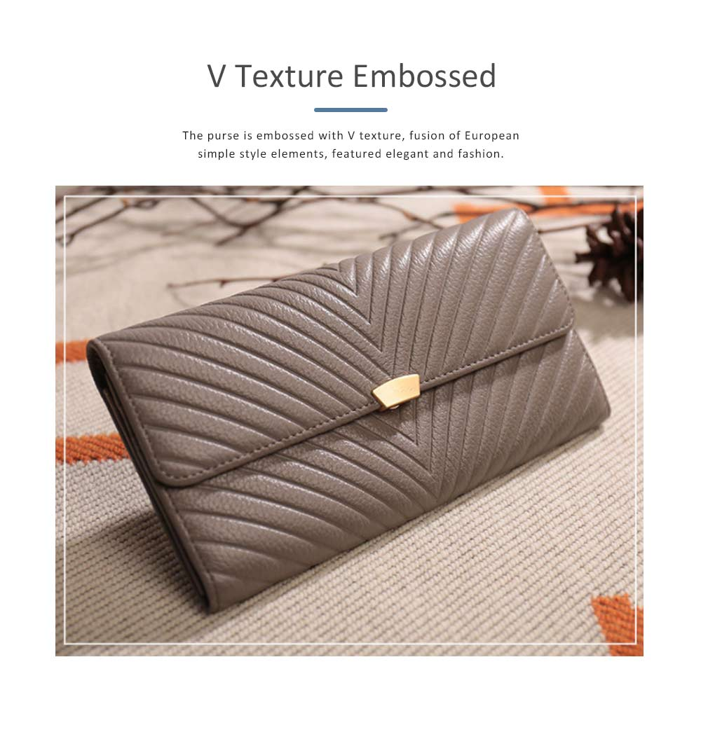 Elegant Purse with V Texture Embossed, Genuine Cow Leather Long Clutch Bag Casual Solid Women Purse 1