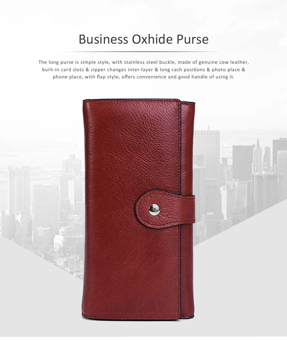 Brown Genuine Leather Long Clutch Oxhide 3 Folds Buckle Long Clutch Women Card Holder Business Purse 0